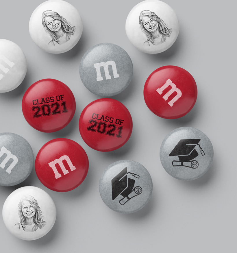 A spill of Graduation themed personalized M&M'S
