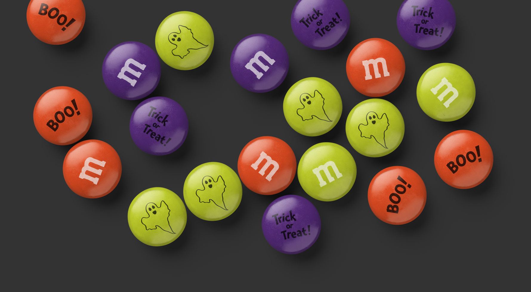 A spill of personalized Halloween M&M'S