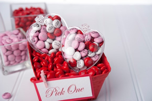 Personalised Valentine's Day gift M&M'S in jars and clear heart shaped boxes