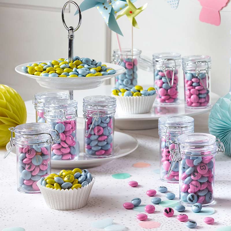 Blue baby and pink personalised M&M'S for baby shower party