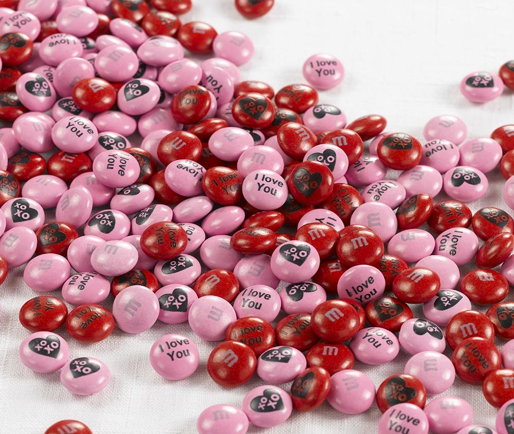Personalised Valentine's Day gift M&M'S on a white background