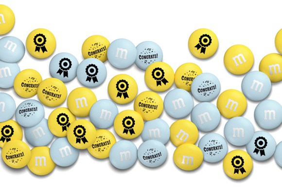 Personalised M&M'S congratulations gift with customized messages