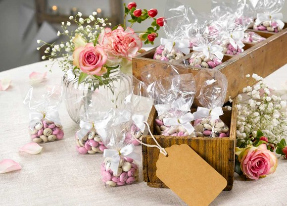 Personalised wedding favours on the bohemian-chic theme for guests