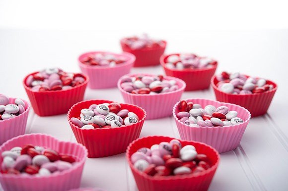 Personalised M&M'S in small heart shaped containers