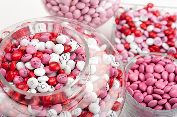 Personalised Valentine's Day M&M'S in glass serving bowls