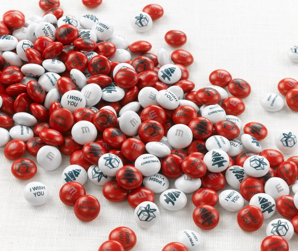 Red and white personalised Christmas M&M'S