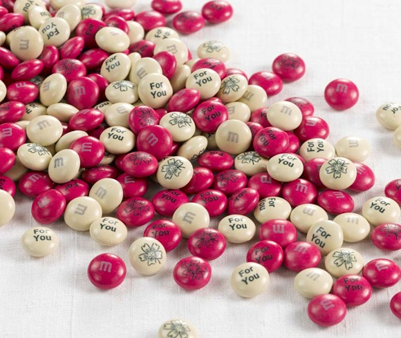 Personalised thank you gift M&M'S on a white background