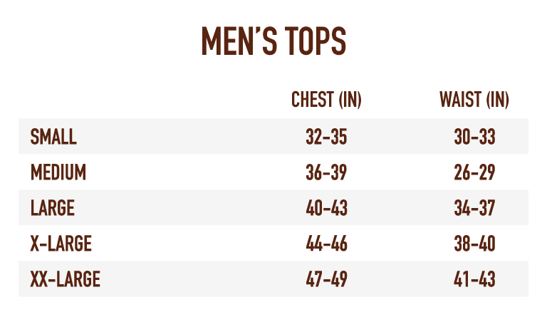 Sizing Chart Men's Tops