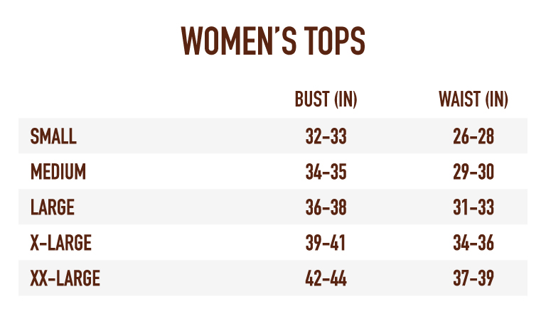Sizing Chart for Women's Tops
