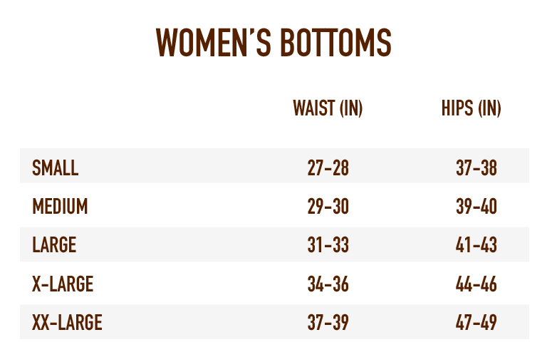 Sizing Chart for Women's Bottoms