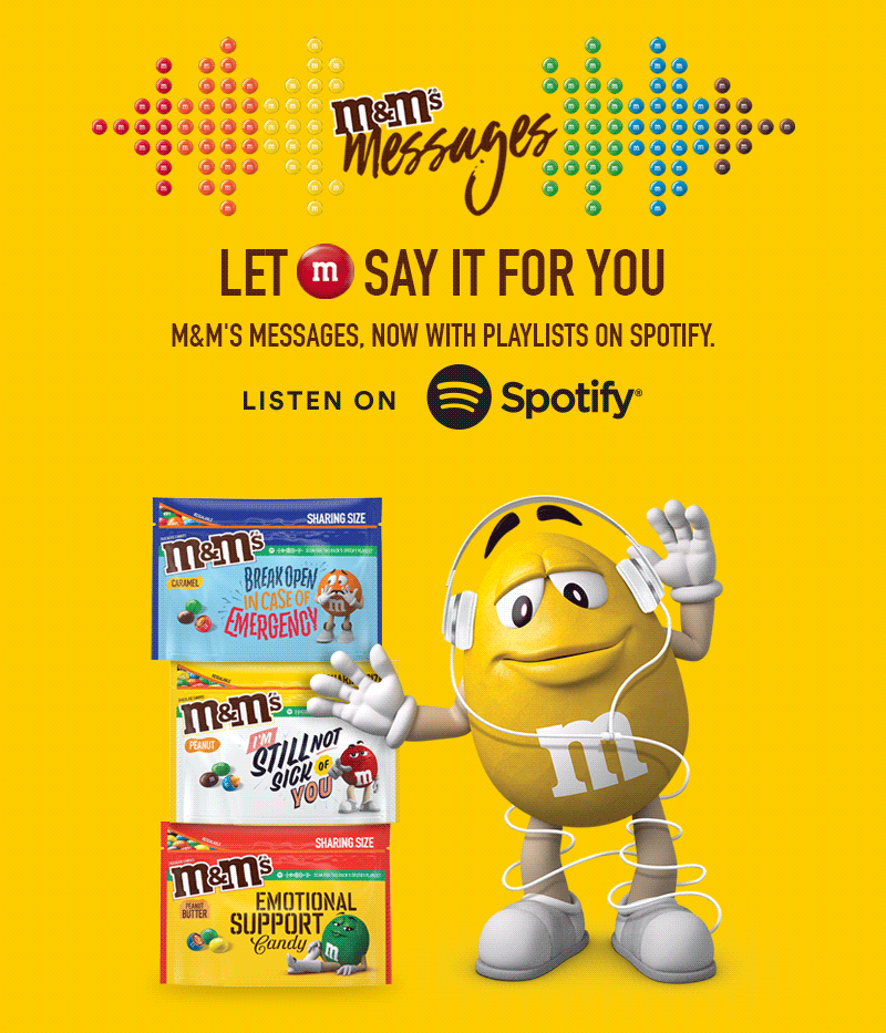 M and Ms Messages now with playlists on spotify