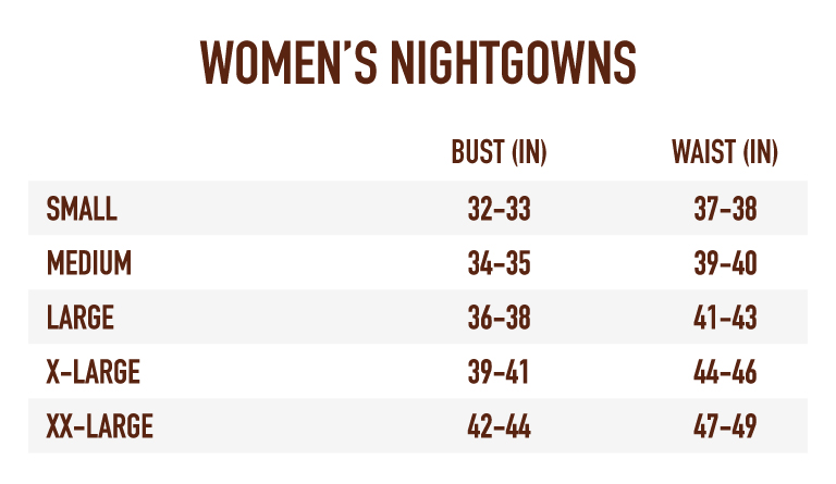 Sizing Chart for Women's Nightgowns