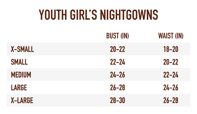 Sizing Chart for Girl's Nightgowns
