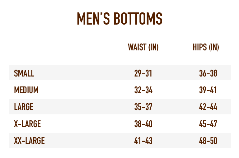 Sizing Chart for Men's Bottoms