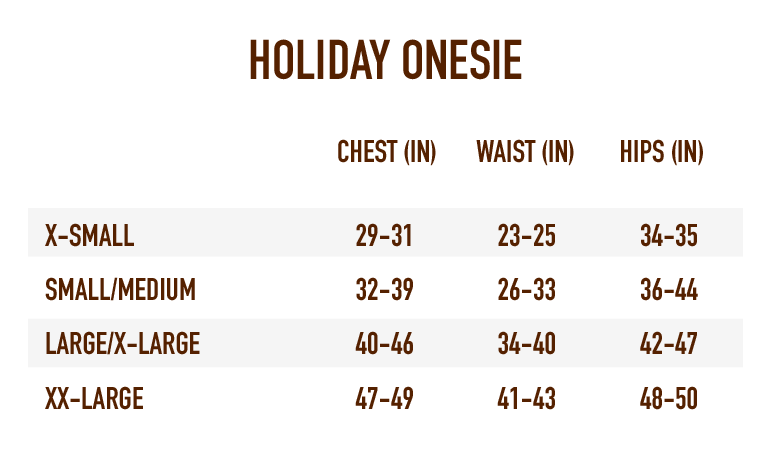 Sizing Chart for Holiday Onesize