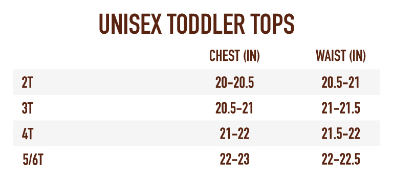 Sizing Chart for Youth Unisex/Toddler's Tops