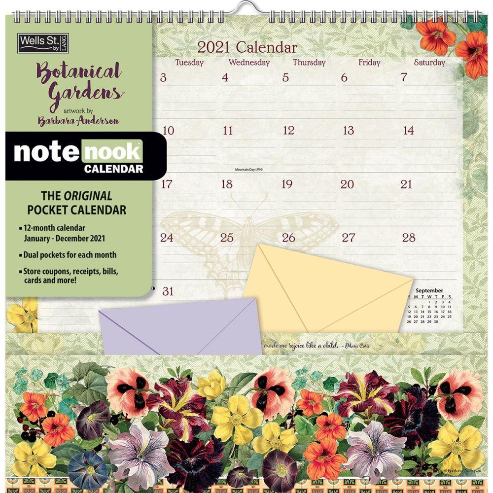 Botanical Gardens 2021 Note Nook Wall Calendar