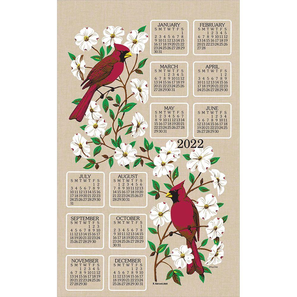 Dogwood And Cardinal 2022 Kitchen Towel Calendar