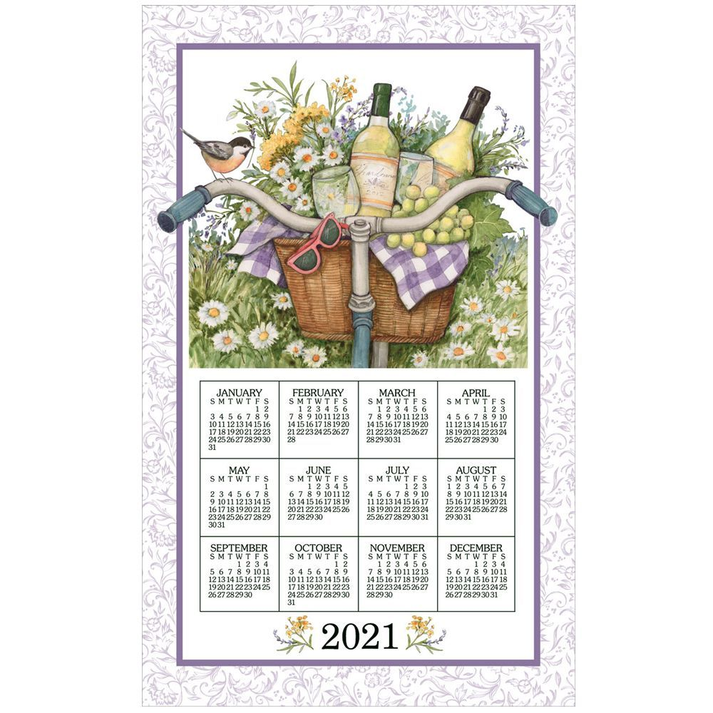 Wine Basket 2021 Calendar Towel