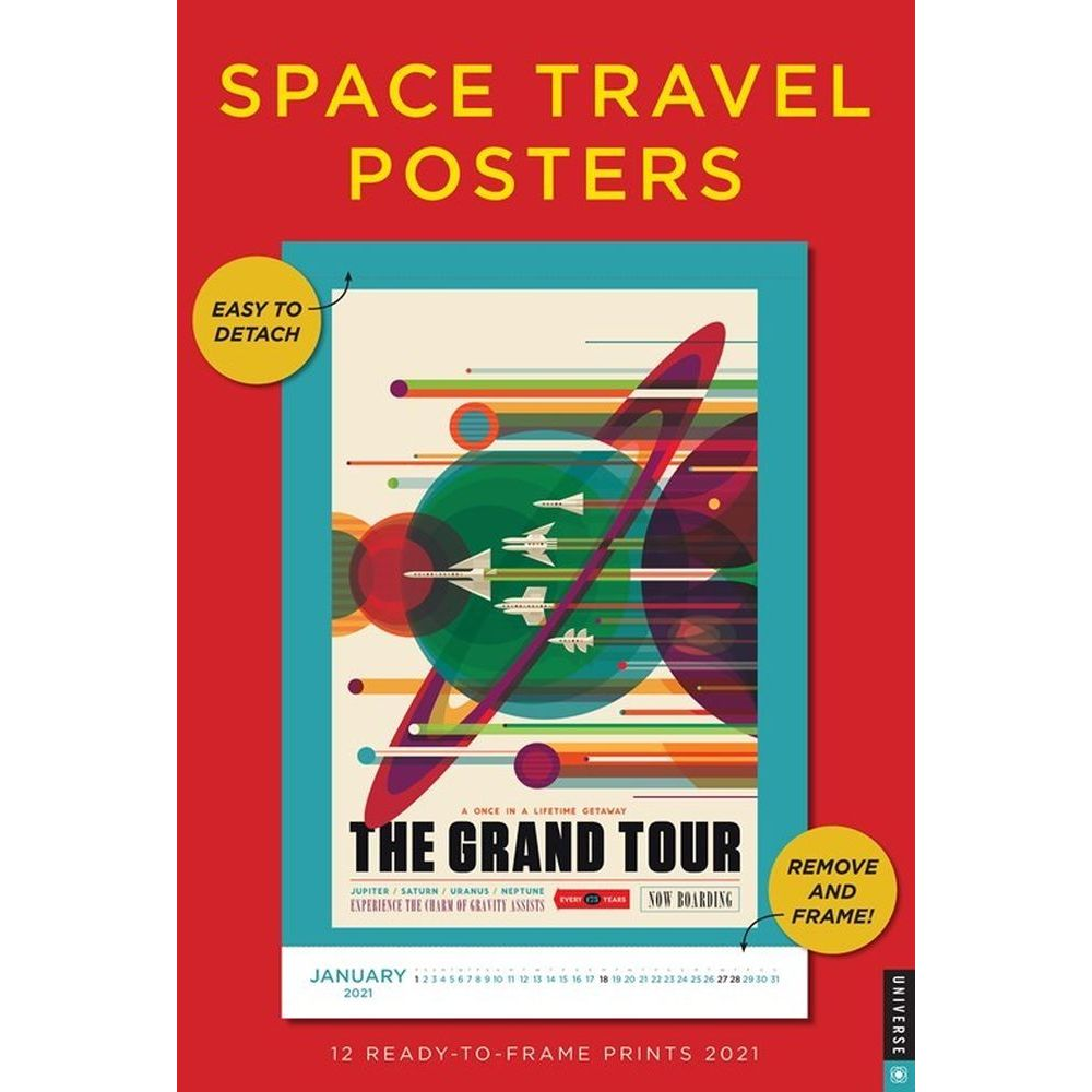 2021 Space Travel Posters Poster Wall Calendar