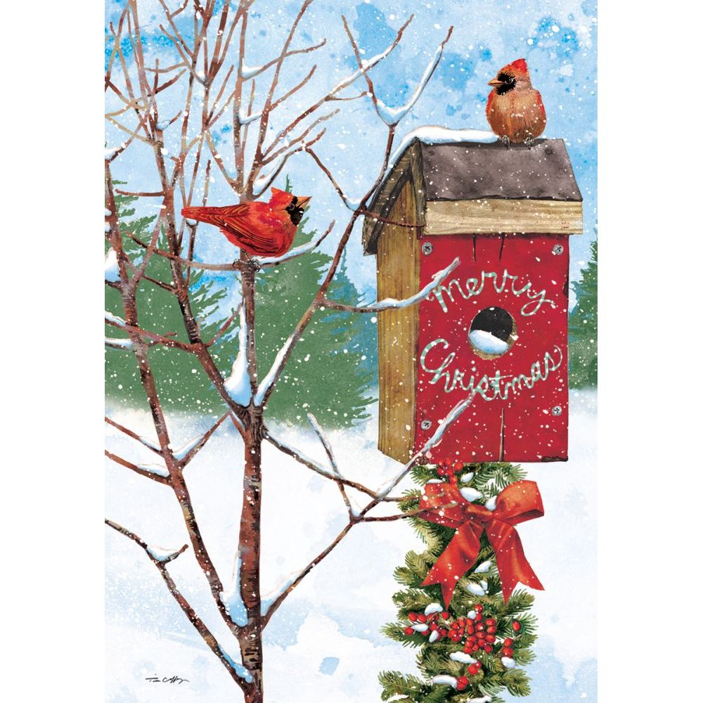 merry birdhouse petite christmas cardstim coffey