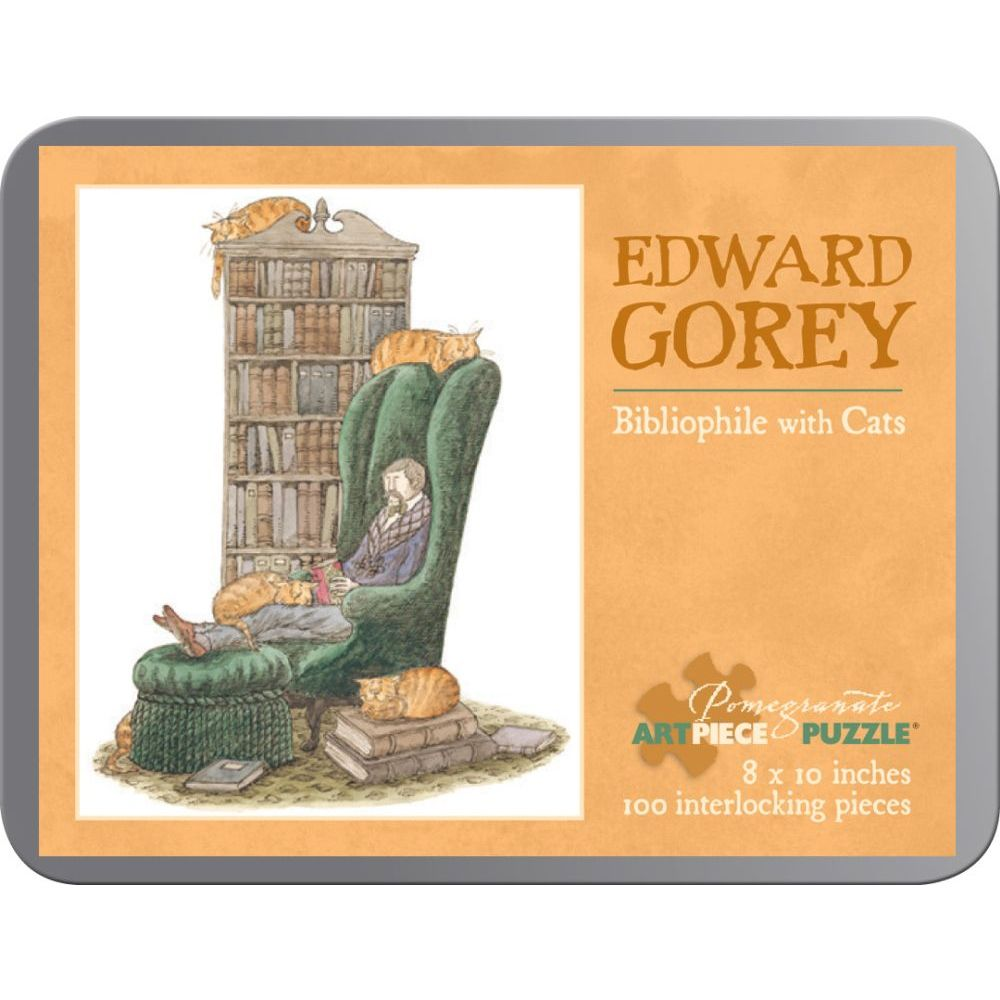 Best Edward Gorey Bibliophile with Cats 100pc Puzzle You Can Buy