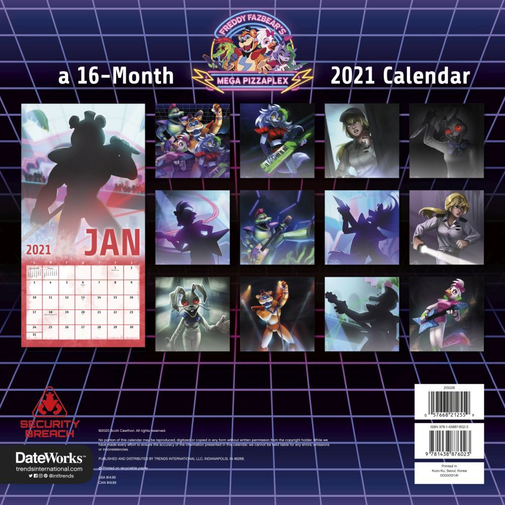 Five Nights At Freddys 2021 Calendar Images