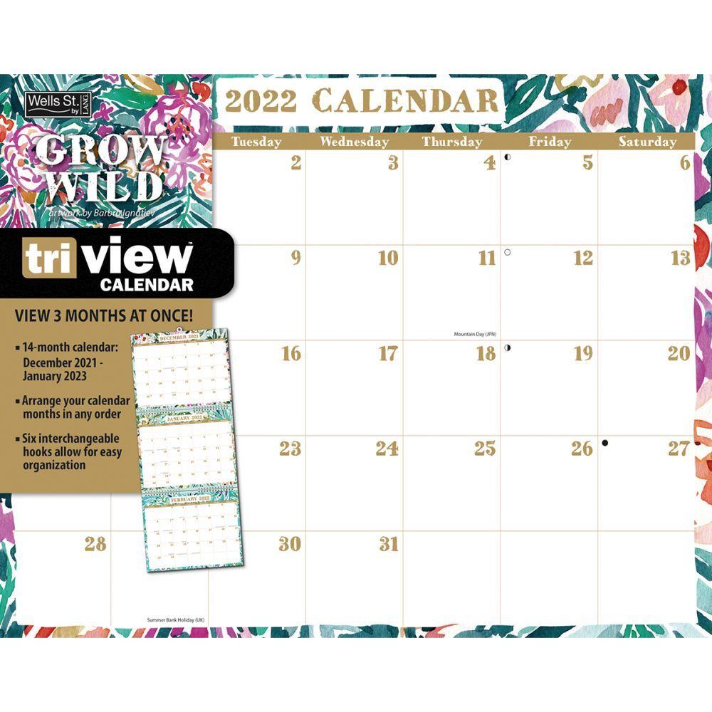 Grow Wild 2022 TriView Calendar