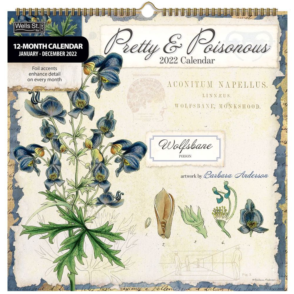 Pretty and Poisonous 2022 Spiral Calendar