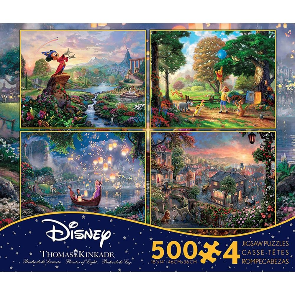 Best Thomas Kinkade Disney Four In One 500 Piece Puzzle Pack You Can Buy