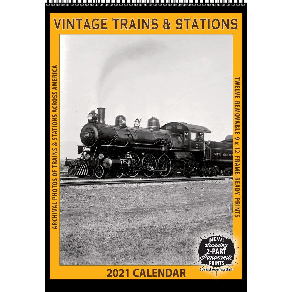 Top 2021 Train Stations Vintage Poster Wall Calendar