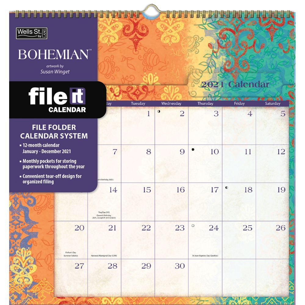 2021 Calendar With Pockets Bohemian File It Pocket Wall Calendar by Susan Winget   Calendars.com