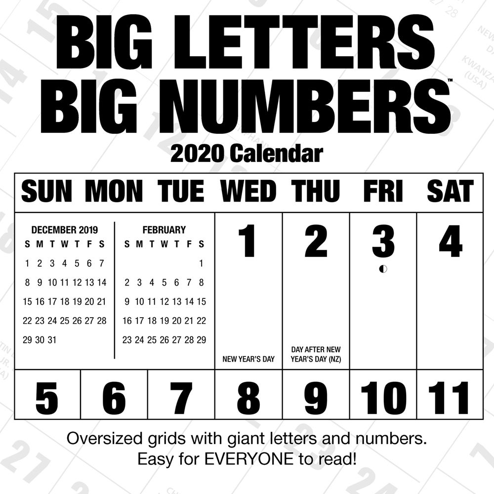 Big Letters Big Numbers 2021 Wall Calendar