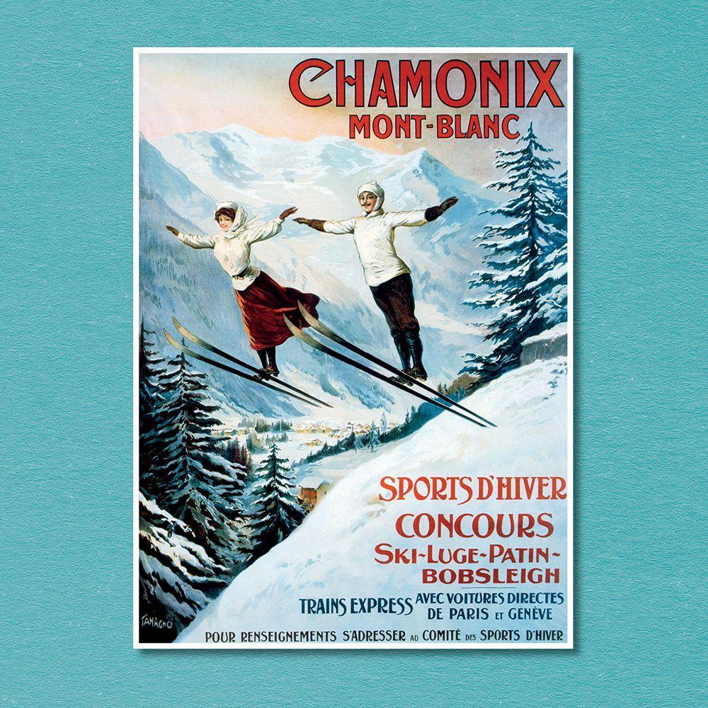 2021 Skiing Posters Vintage Wall Calendar