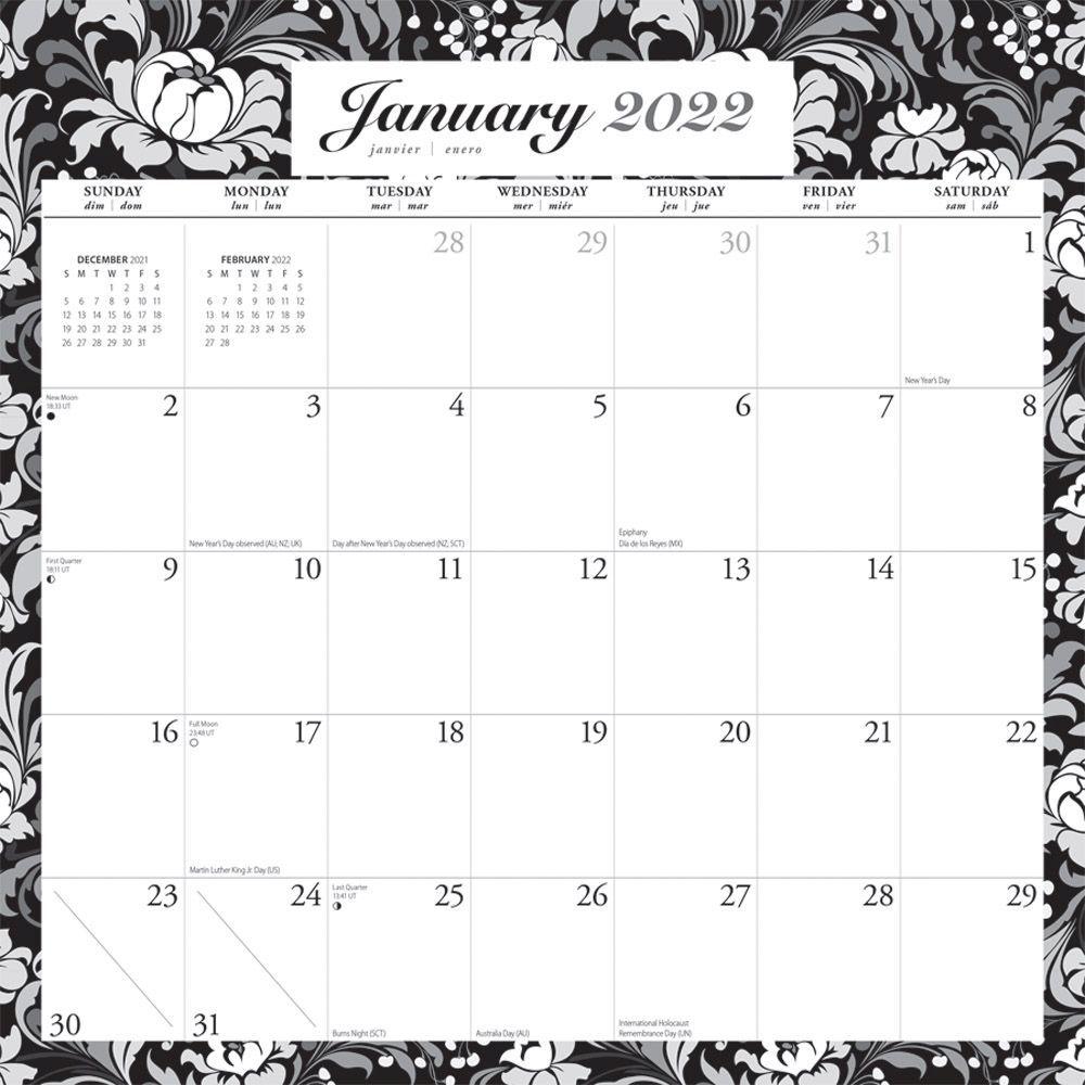 Ebony and Ivory 2022 Spiral Wall Calendar