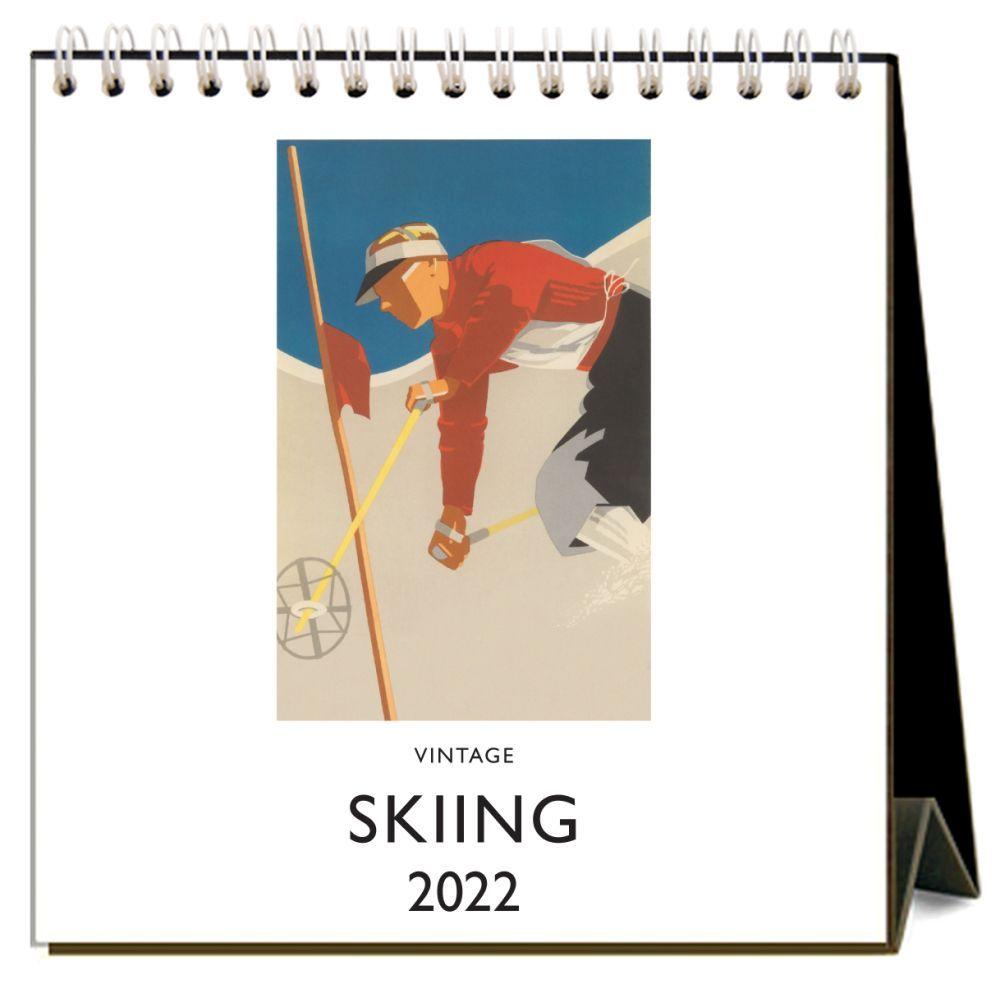 Vintage Skiing 2022 Easel Desk Calendar