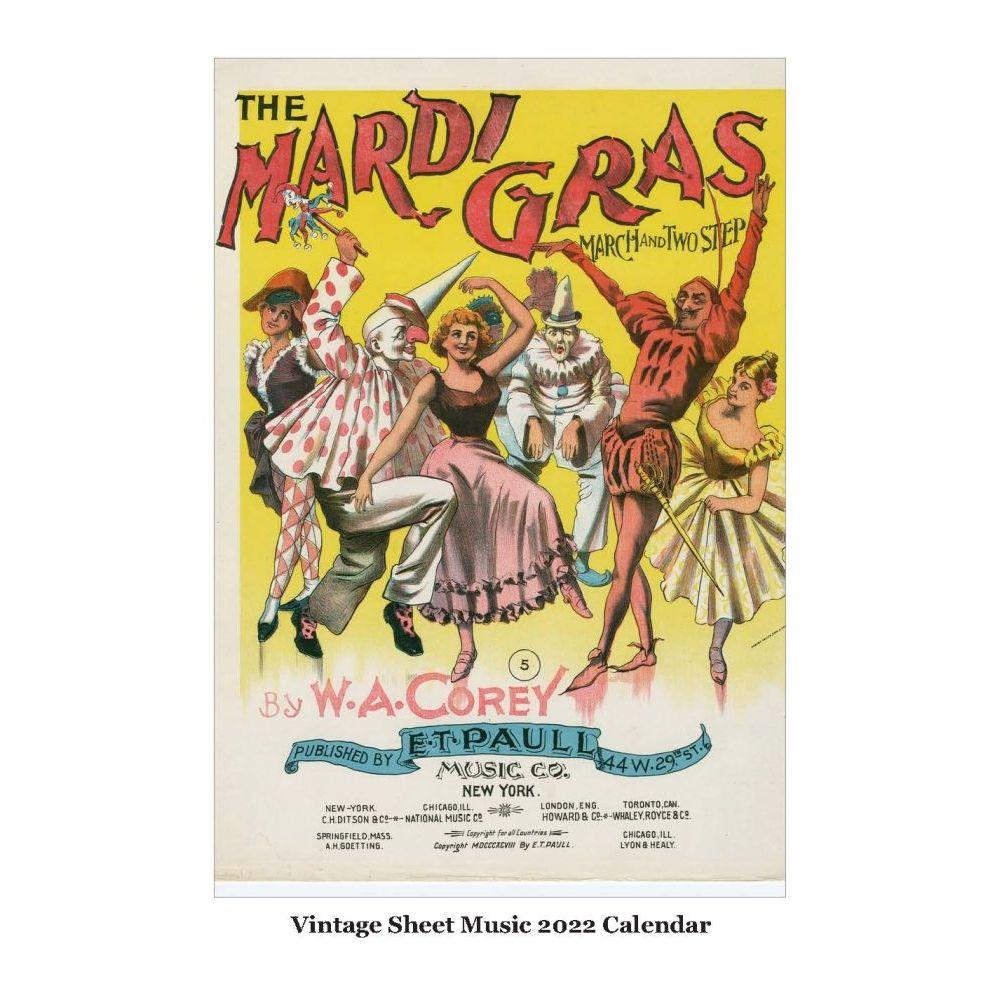 Vintage Sheet Music 2022 Poster Calendar