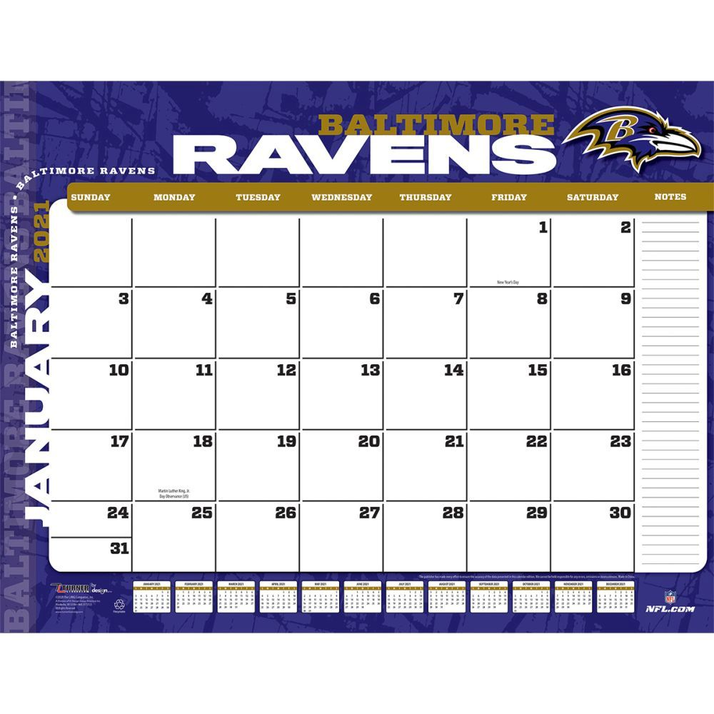 Baltimore Ravens 2021 Desk Pad