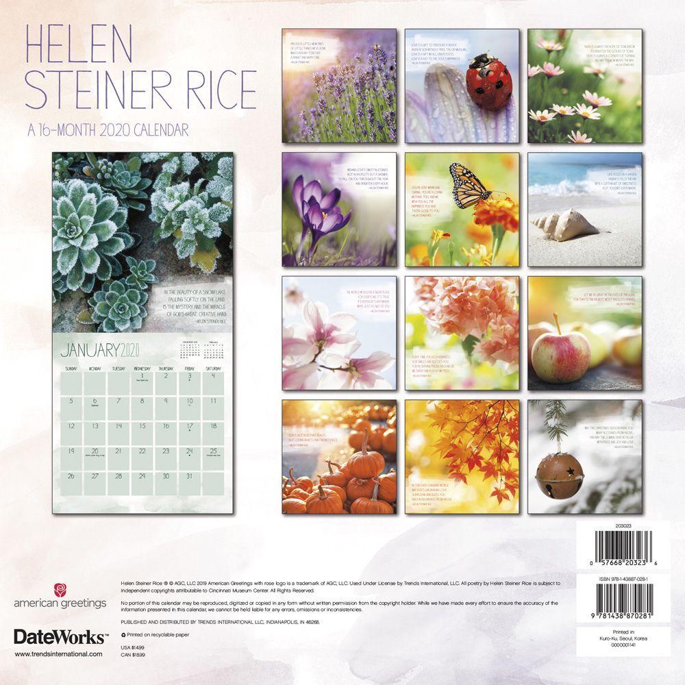 Rice Spring 2022 Calendar.Helen Steiner Rice Wall Calendar Calendars Com