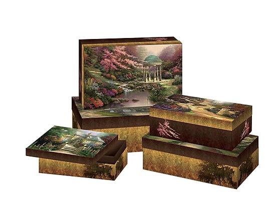 Image of Five Stackable Thomas Kinkade Decorative Boxes