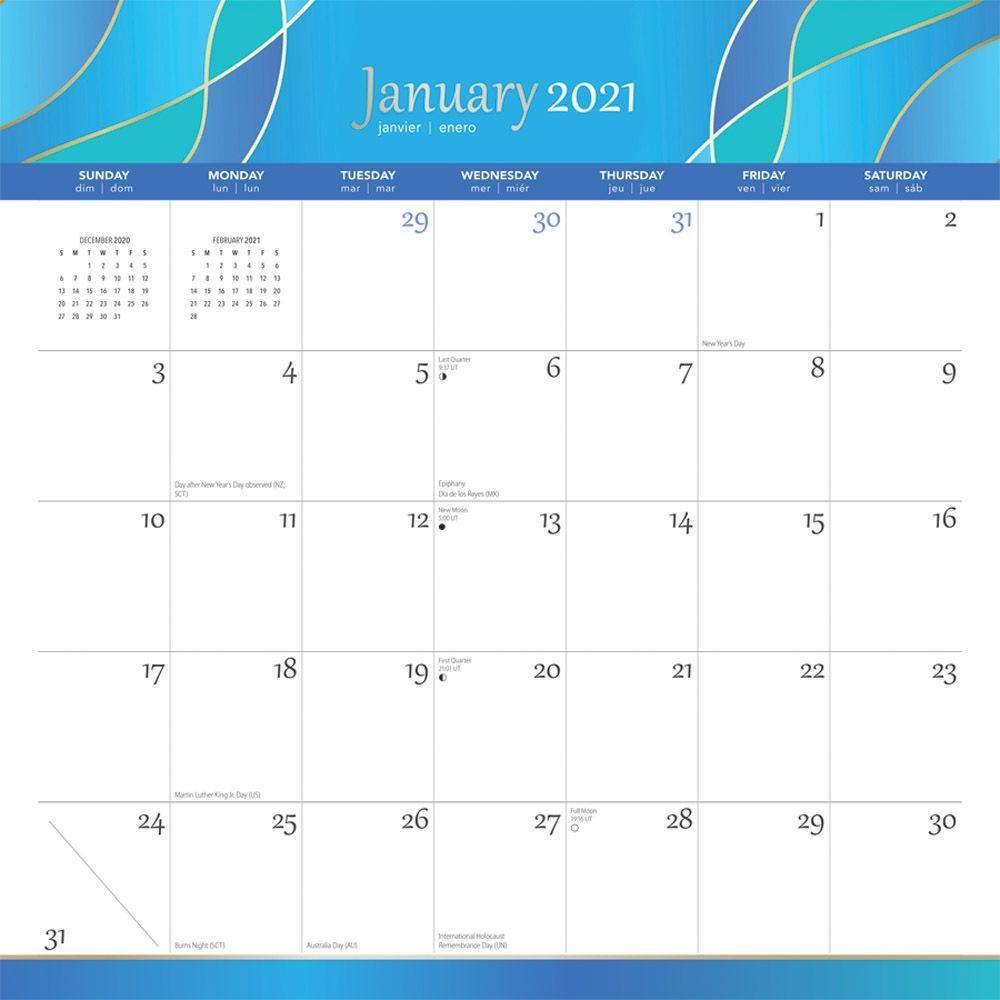 2021 Seaside Currents Spiral Wall Calendar