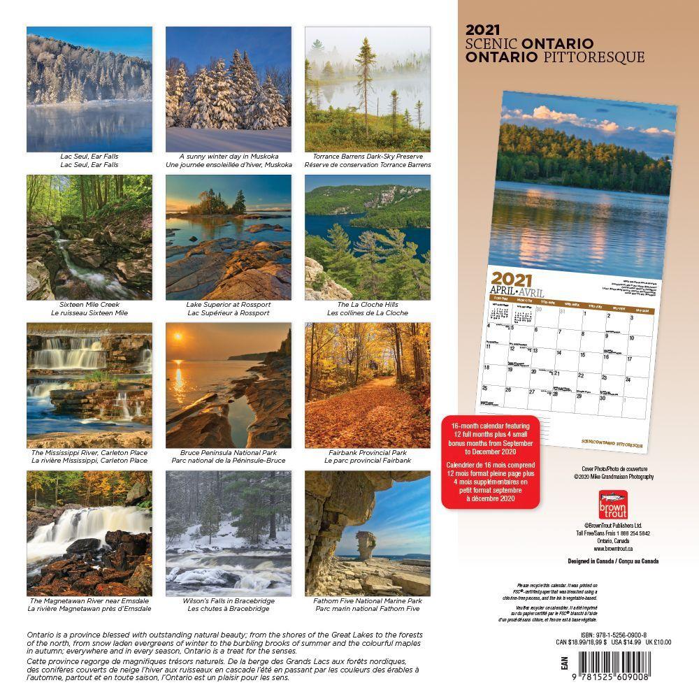 Ontario Wild & Scenic Wall Calendar   Calendars.com