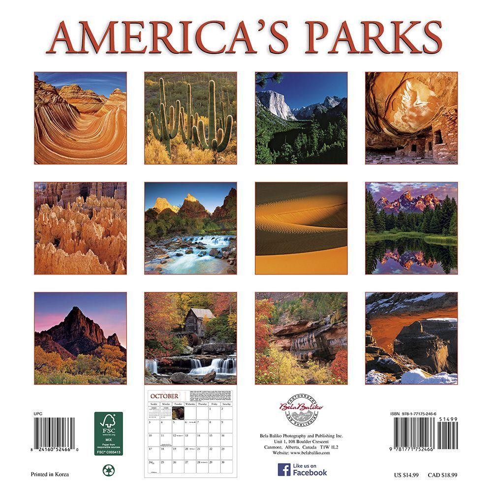 Americas Parks Wall Calendar