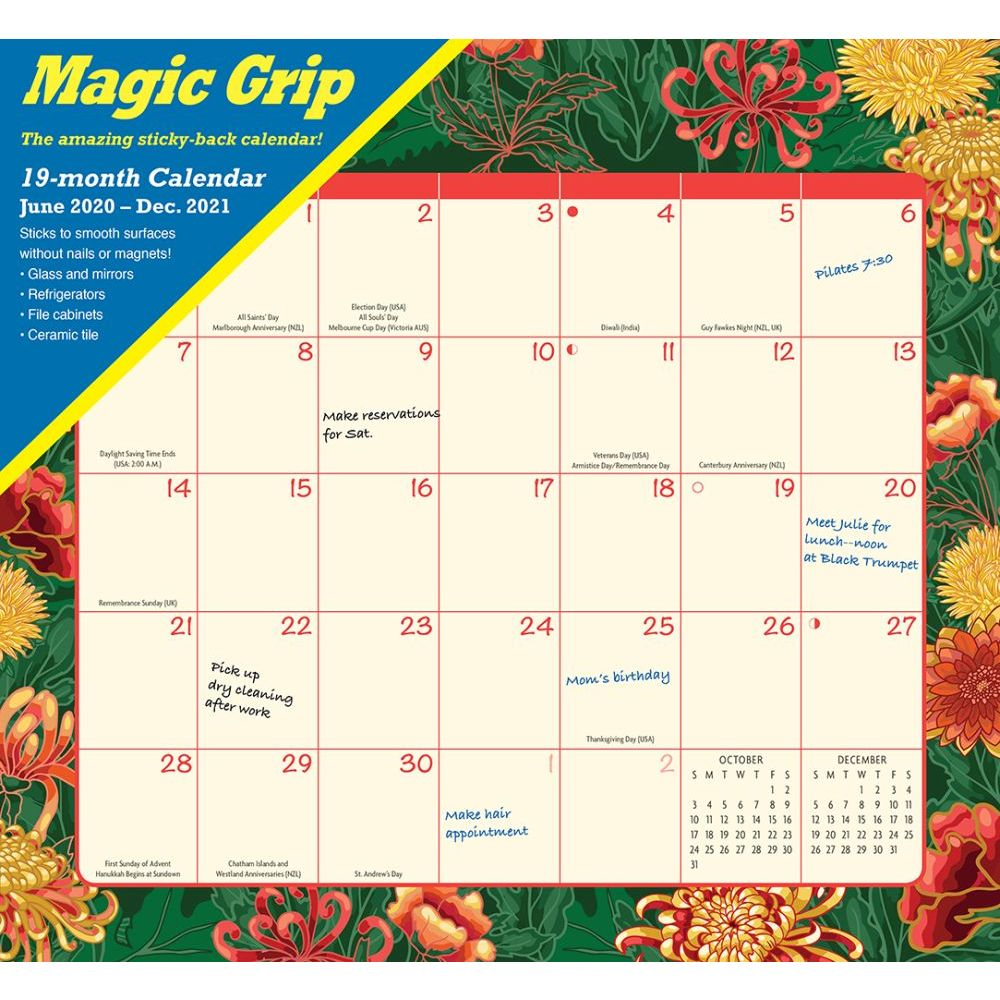2021 Floral Jumbo Magic Grip Wall Calendar