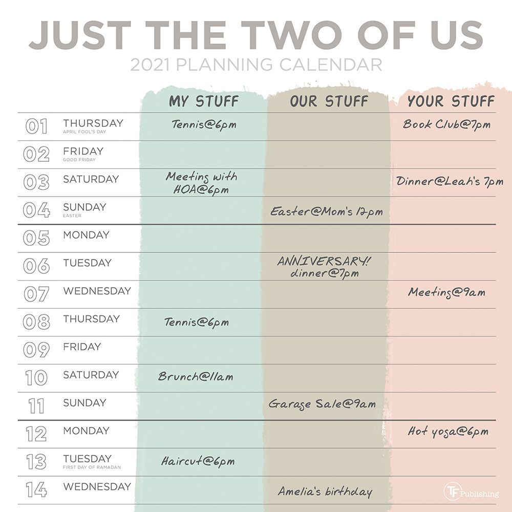 2021 Just the Two of Us Wall Calendar