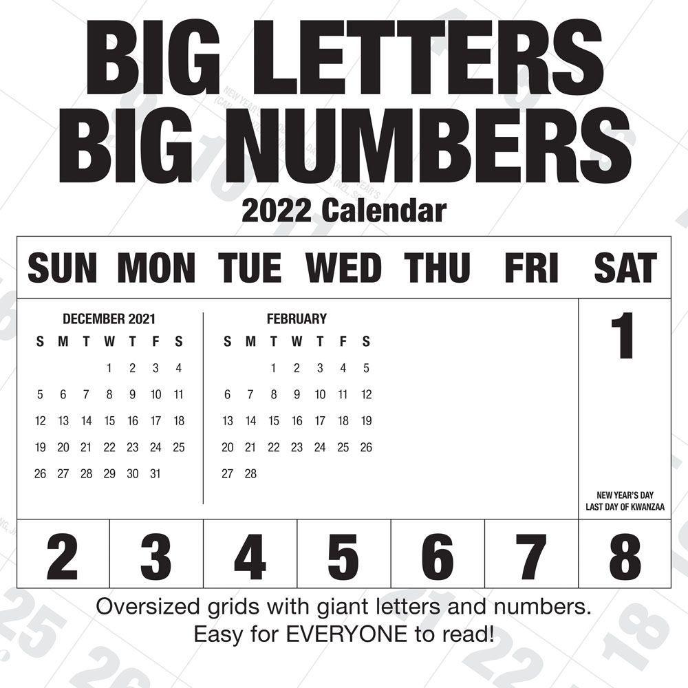 Big Letters Big Numbers 2022 Wall Calendar
