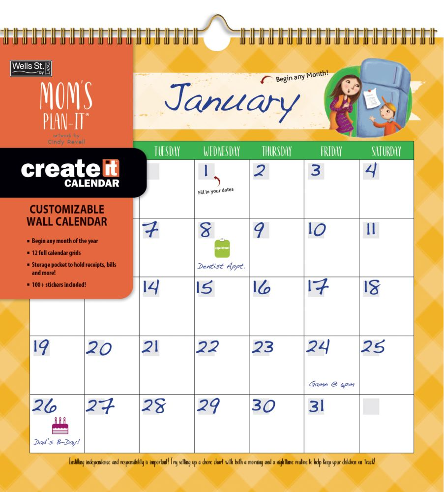 2021 Moms Create-it Perpetual Wall Calendar by Cindy Revell