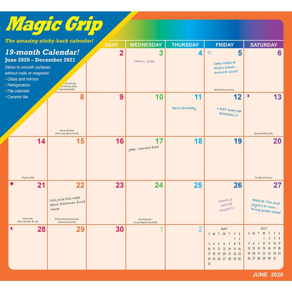 Rainbow Jumbo Magic Grip Wall Calendar