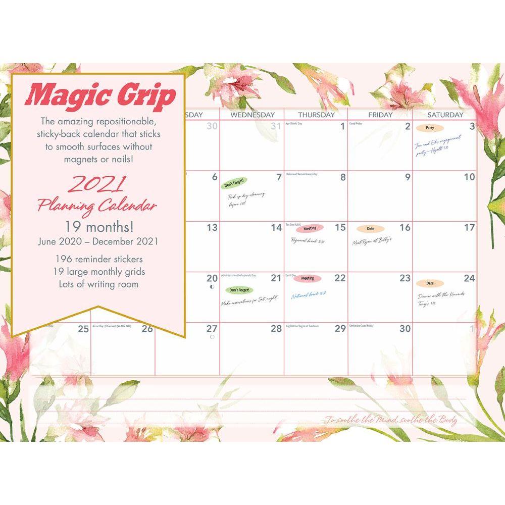 2021 Floral Watercolor Jumbo Magic Grip Wall Calendar