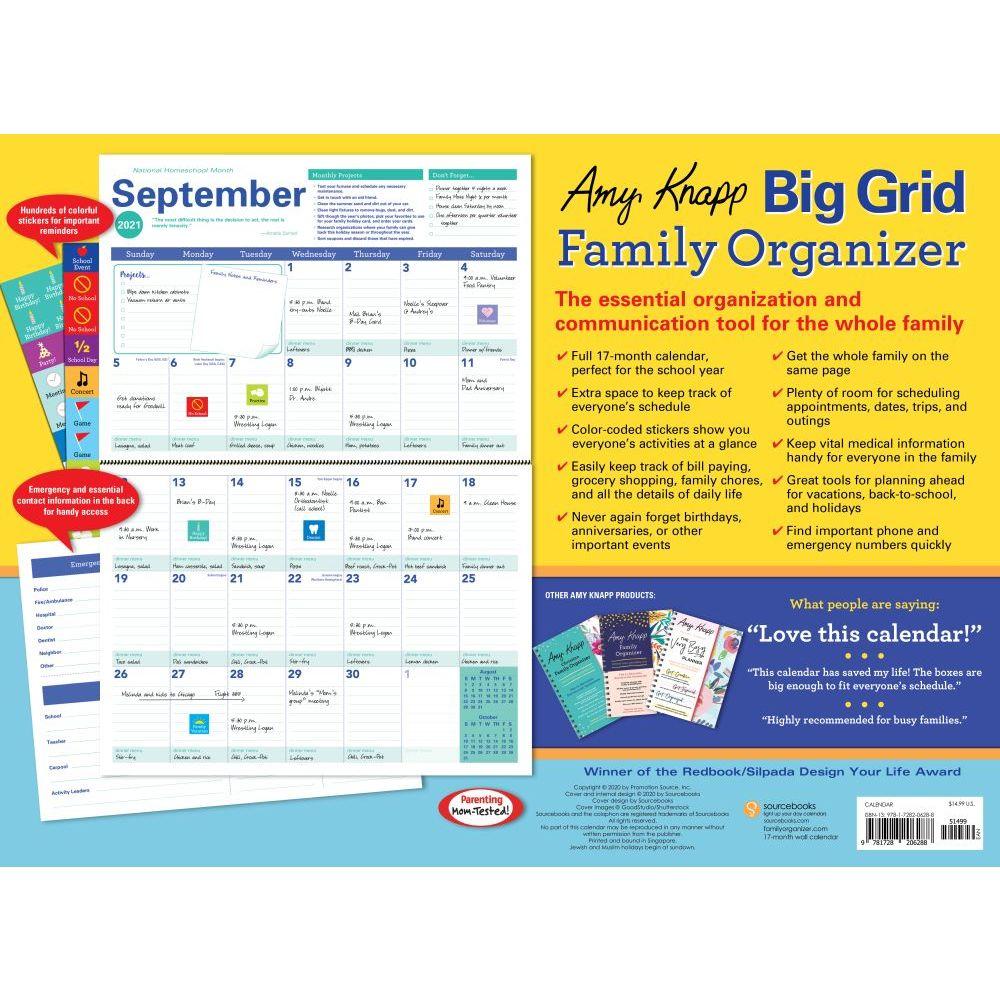 Amy Knapps Family Organizer Wall Calendar - Calendars.com